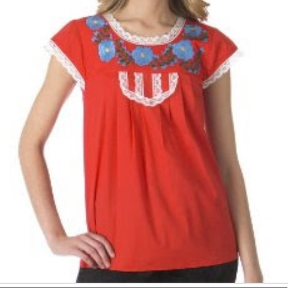 Tracy Feith Tops - Tracy Feith Red Embroidered Shirt XL Target